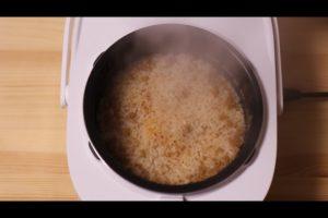 炊きあがった麻婆豆腐炊き込みご飯