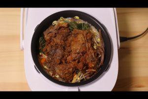 炊きあがった石焼きビビンバ風たき込みご飯